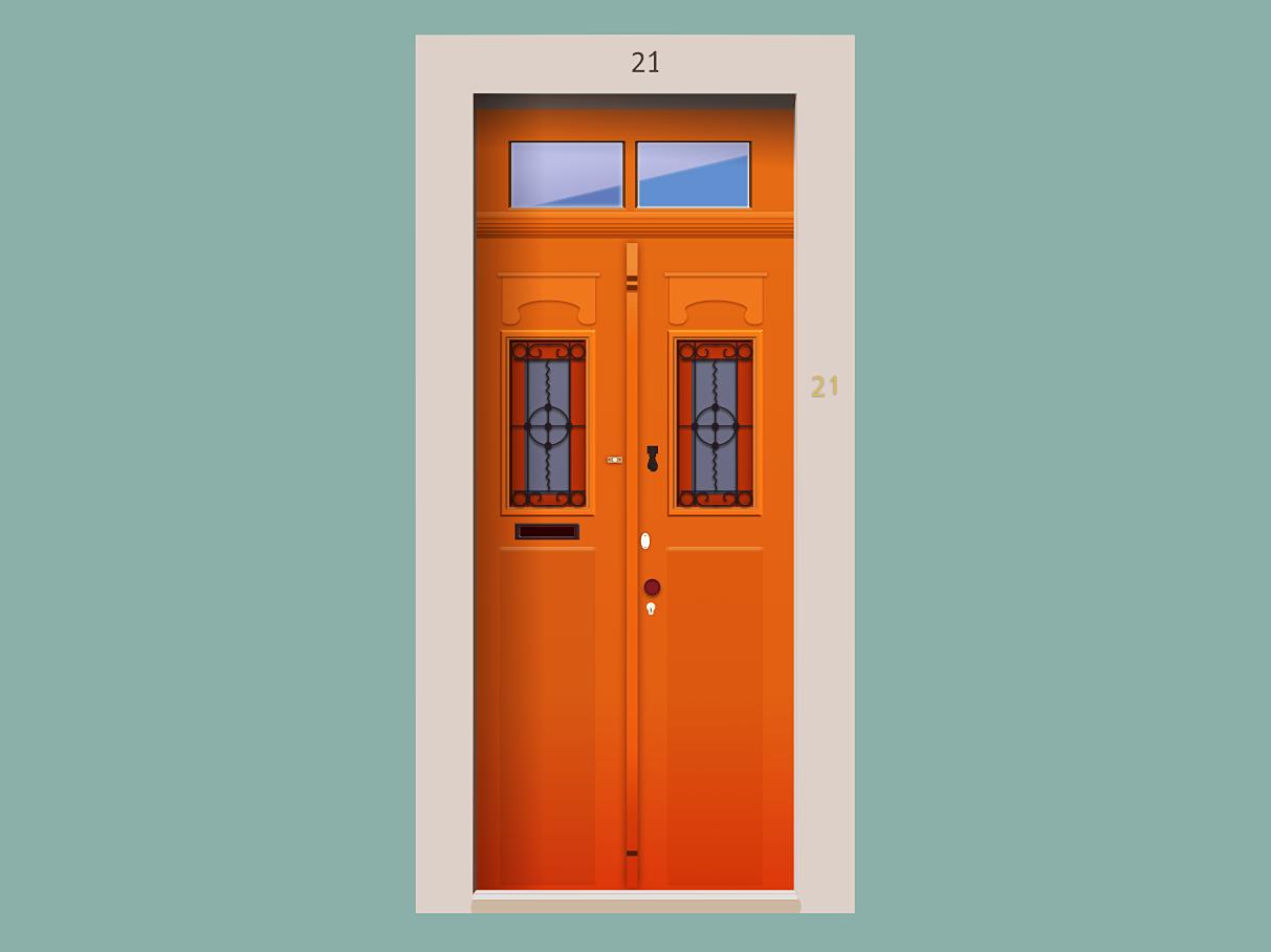 Door nº 21 madeinaffinity 2d art portugal 2d flat doors vector design illustration door affinity