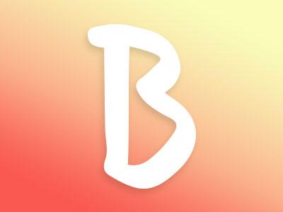 Origin B gradient yellow orange hand drawn marker type b