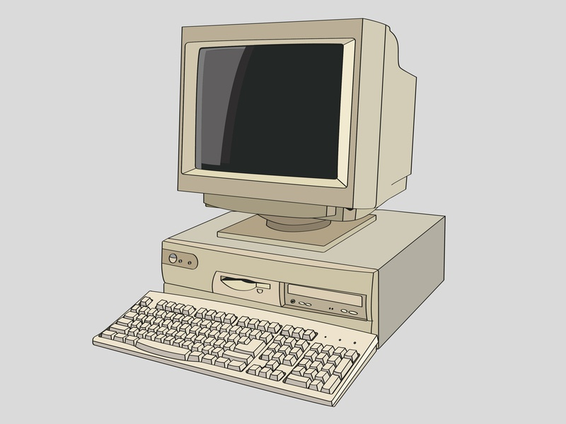 Old Pc illustration design dribbble vector ibm pc