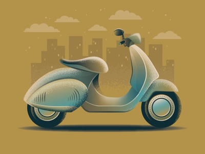 Scooter vectorart beige view buildings motorbike vector illustration design