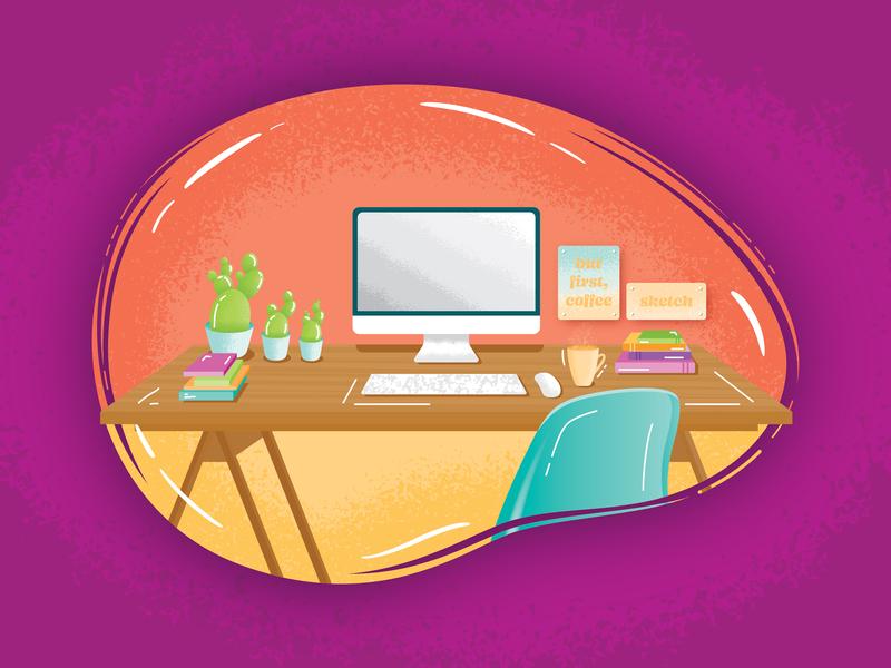 Workspace Illustration office workspace desktop procreate vector indesign design illustrator illustration