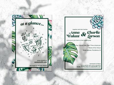 Botanical Wedding Invitation coronavirus covid-19 adobe illustrator procreate graphic design wedding emojis illustration leaves succulents monstera watercolor stationary