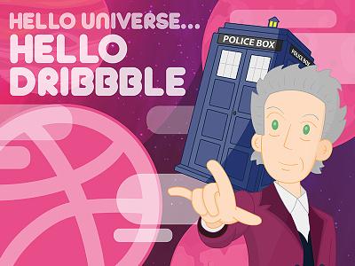 Hello universe, hello Dribbble line art vectorization tardis space debuts dribbble doctor who