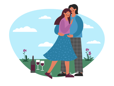 picnic, date & wine drinking picnic nature fall in love together romantic love boy girl flat vector illustration design character