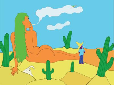 Oblivion trippy curves illustration desert girl