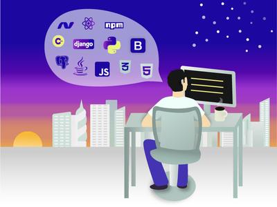 App Developer 2d art stars app illustration flat sunset code coffee icons tech