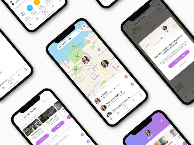 Life360 Redesign popup modal card clean app map location ios mobile redesign ux ui