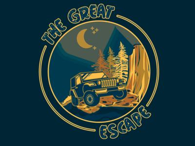 The Great Escape jeep mountain colour badge design adobe graphicdesign illustrator vector logo