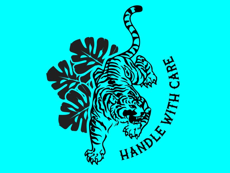Handle With Care font tattoo tiger branding colour design adobe graphicdesign illustrator vector logo