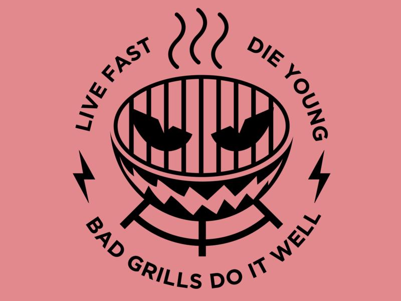 Bad Grills grills typography branding badge colour design adobe graphicdesign illustrator vector logo