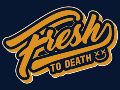 Fresh to Death shadow drop type script sticker hireme illustrator adobe vector logo
