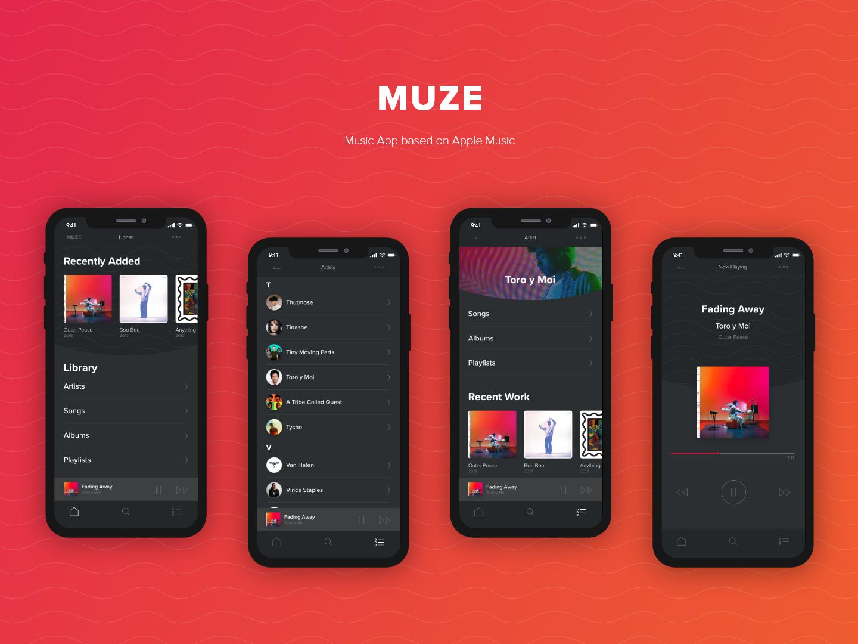 Muze | Apple Inspired Music App dark ui app iphonex ux ui design apple