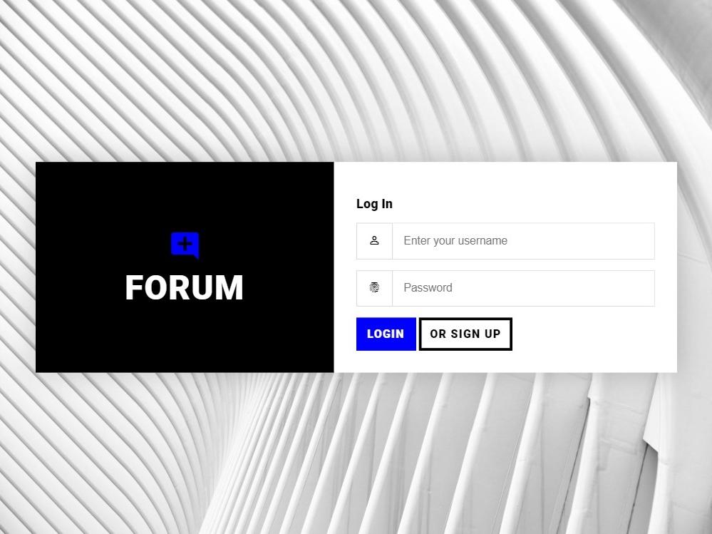 Forum Log In | Brutalist design concept log in forum development ux ui brutal