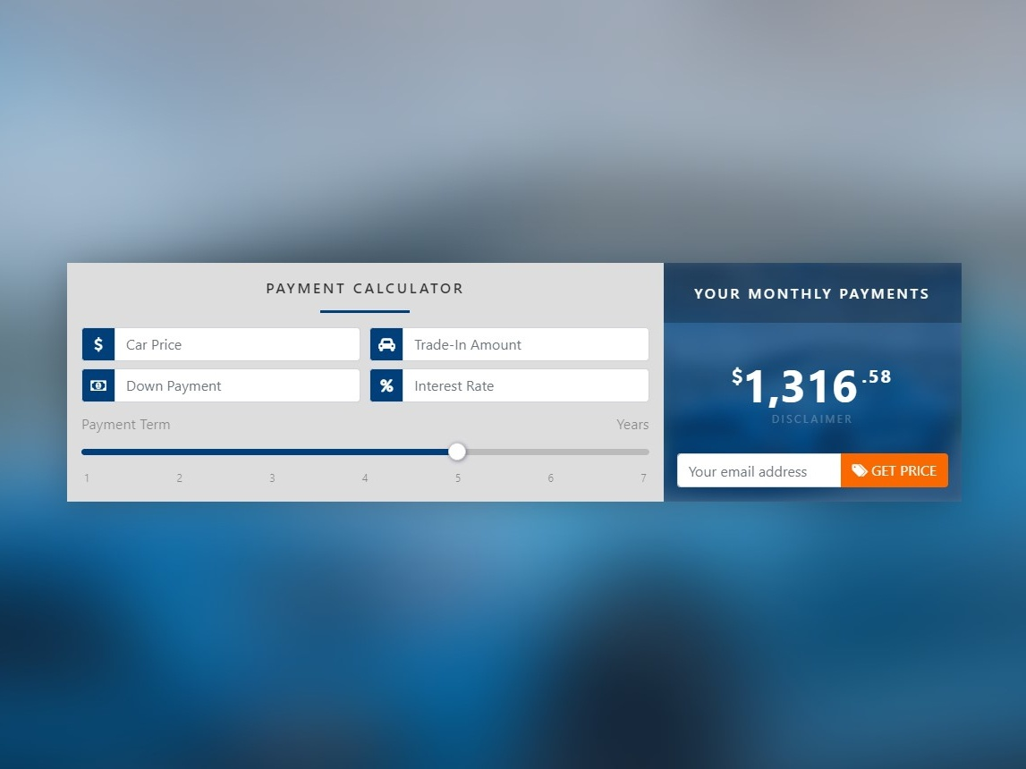 Car Payment Calculator | Bootstrap Concept concept design payment app app bootstrap ui calculator payment