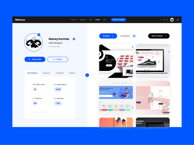Behance Profile Redesign color palette clean ui redesign concept profile profile page profile design trends blue responsive ui ux user grid web uidesign redesign behance dribbble ux ui app ux design ui