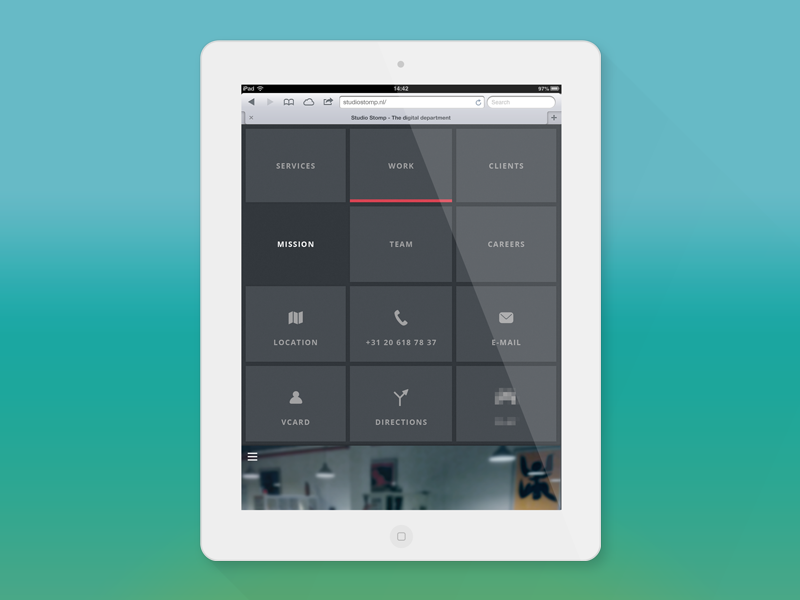 Ipad menu treatment by Michel Stomp on Dribbble