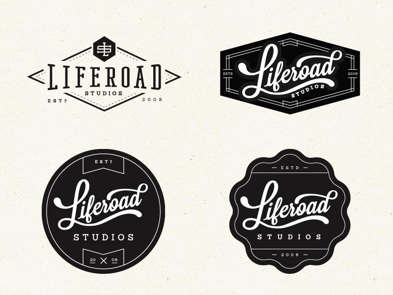 Liferoad Studios Logo logo branding badge typography type life road studio circle shape lettering whiskey and branding