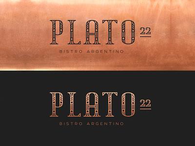 Plato 22 bistro latin grill type design type identity restaurant copper whiskey and branding branding typography logo