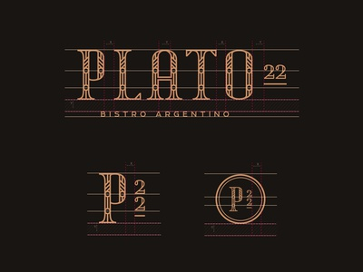 Plato 22 - Style guide WIP lettering identity food type design bistro copper monogram restaurant whiskey and branding branding typography logo