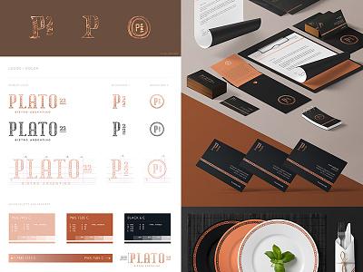 Plato 22 - Complete Workboard whiskey and branding type design typography restaurant monogram logo lettering identity food copper branding bistro