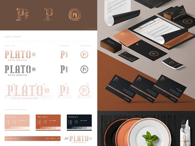 Plato 22 - Complete Workboard whiskey and branding type design typography restaurant monogram logo lettering identity food copper branding bistro