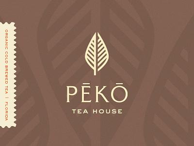 Peko Tea House whiskey and branding cold pressed tea organic nature logo leaf juice identity icon house