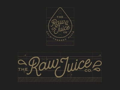 The Raw Juice Co - Grid whiskey and branding typography juice logo lettering identity food copper branding