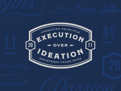 Execution Over Ideation typography seal pet logo lockup identity dog chewy cat branding blue badge