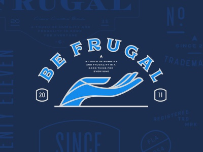 Be Frugal typography seal pet logo lockup identity dog chewy cat branding blue badge
