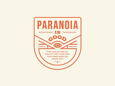 Paranoia Is Good typography seal logo lockup identity dog chewy cat branding red orange badge
