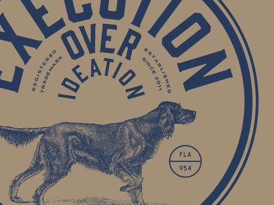 Execution Over Ideation typography seal red orange logo lockup identity dog chewy cat branding badge