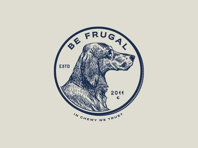 Be Frugal - Direction 2 typography seal pet logo lockup identity dog chewy penny branding blue badge
