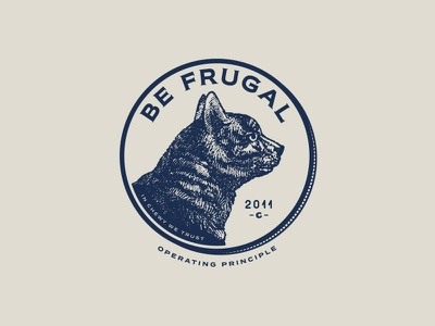 Be Frugal - Cat version typography seal pet penny logo lockup identity cat chewy branding blue badge