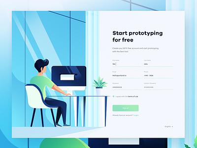 Signup Page Prototype branding app flat design website login signup ux illustration ui