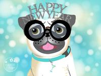 Happy New Year 2019 Pug Dog Illustration