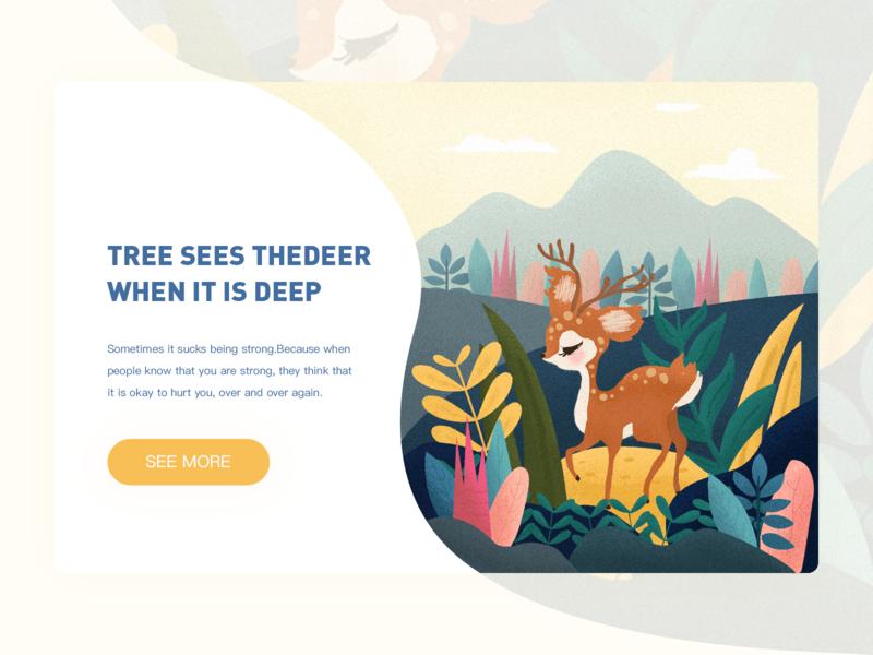 Deer pink illustration illustrations mountain lovely yellow green plant animal deer