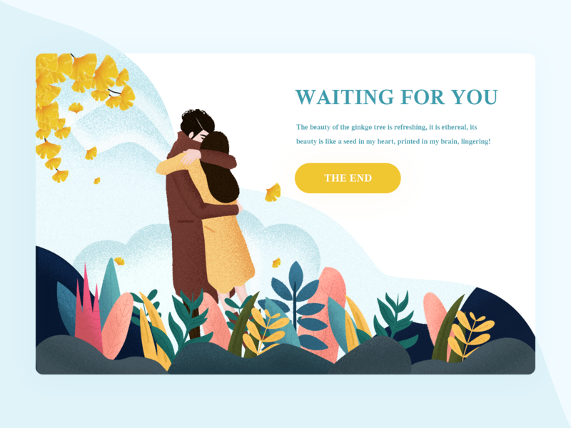 THE END blue design couples yellow illustration