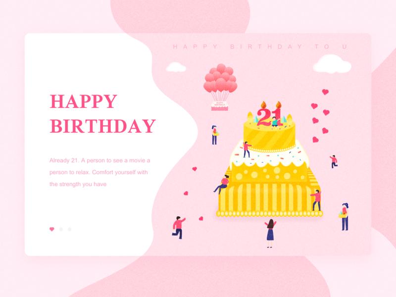 21 design cake yellow illustration birthday cake