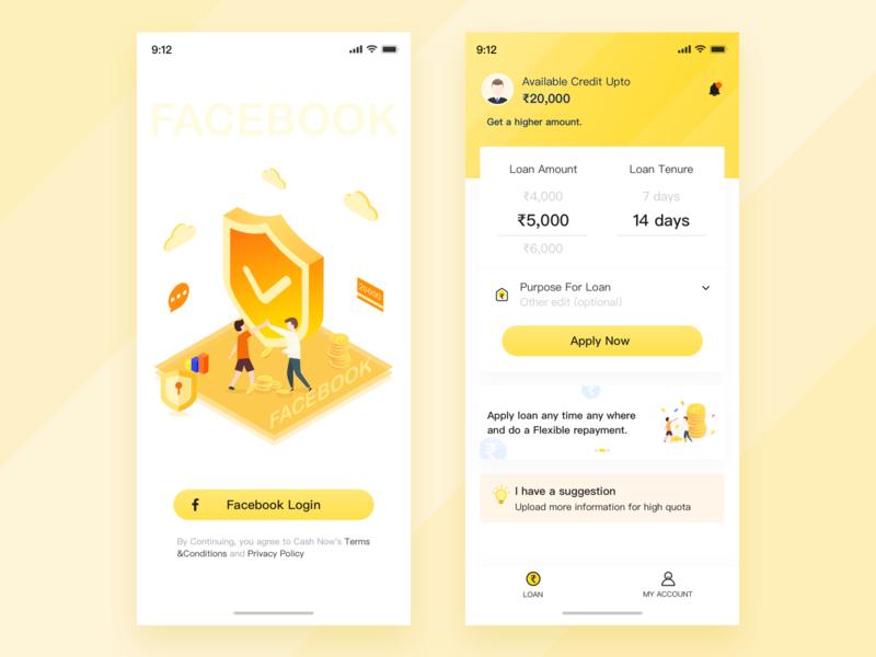Financial-1 ui app yellow design illustration