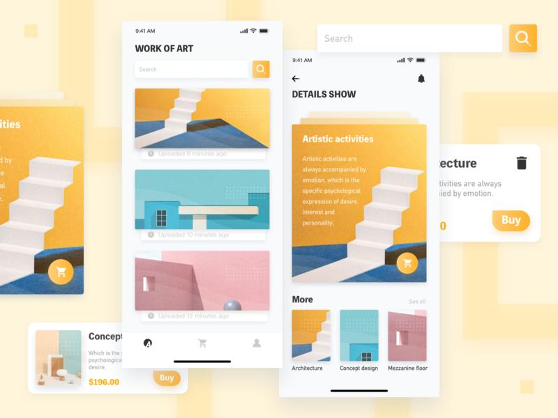 Art-1 app art building 2019 ui yellow design