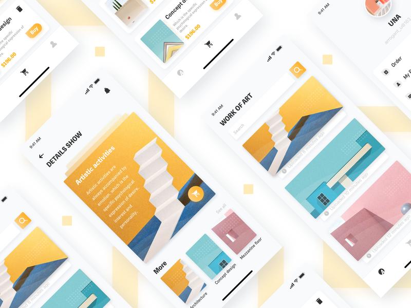 Art-2 card ui card search abstract 插图 黄色 app art 2019 ui 设计