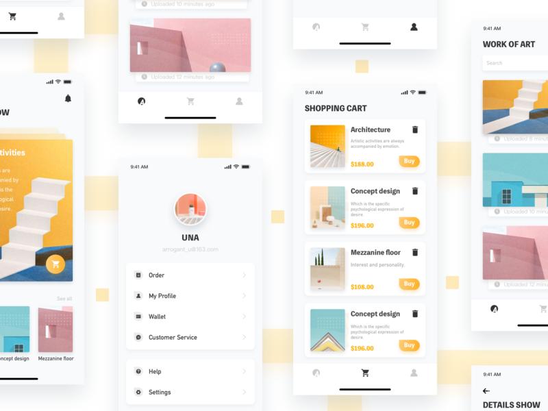 Art-3 my shopping app design branding yellow app 2019 ui design