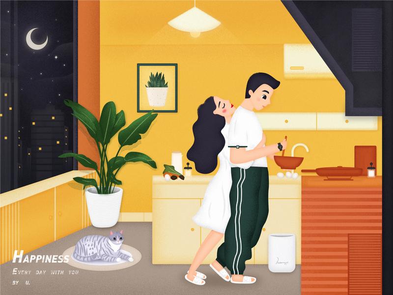 Happiness life night hug sweet kitchen daily couples design yellow illustration