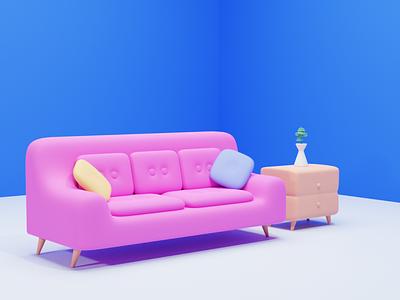sofa blendercommunity illustraion 3dillustration 3d 3d art 3dart blender3dart blender3d blender