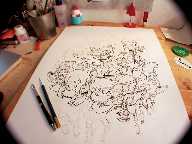 Music Mash Up  music drawing sketch character inking comic sweet cute