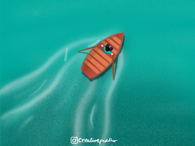 Waterboat dribbble graphic design illustrator minimal dribbble digital art gal shir procreate design vector illustration creativepeddler