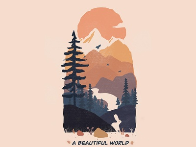 Mountain scene drawing procreate art forest scenery mountain procreate graphic design minimal design illustration creativepeddler