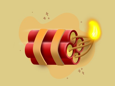 Dynamite dribbble flat minimal graphic design digitalart cracker bomb blast dynamite procreate digital art illustration creativepeddler