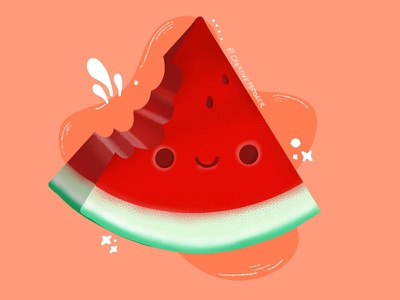 Watermelon gal shir happy summer fruit watermelon sugar creative vector graphic design procreate digital art dribbble illustration design minimal creativepeddler