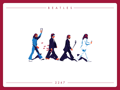Beatles 2247 art street harrison ringo paul mccartney john lennon selfie instagram social graphic design illustraion music beatles